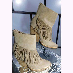 Beige Fringe Cowboy Bootie Boots 9